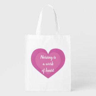 Pink Heart Nurse Gift Reusable Grocery Bag