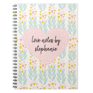 Pink Heart on Vintage Pink and Aqua Floral Pattern Notebooks