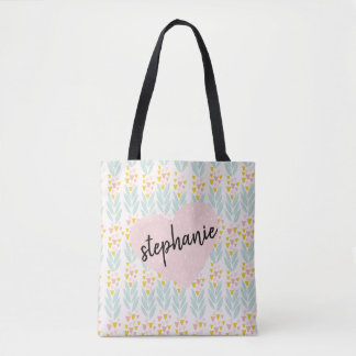 Pink Heart on Vintage Pink and Aqua Floral Pattern Tote Bag