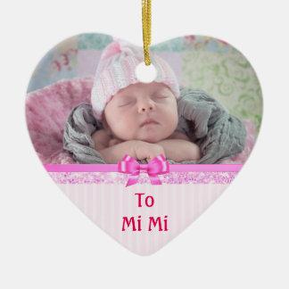Pink Heart Ornamental Keepsakes for MiMi Ceramic Heart Decoration