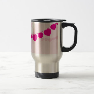 Pink Heart Party Stainless Steel Travel Mug