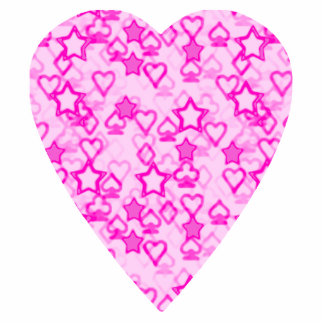 Pink Heart Patterned Heart Design Acrylic Cut Outs