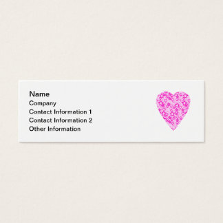 Pink Heart. Patterned Heart Design. Mini Business Card