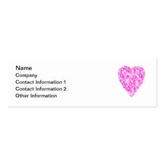 Pink Heart. Patterned Heart Design. Pack Of Skinny Business Cards