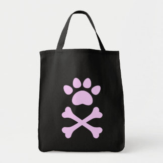 Pink Heart Paw & Crossbones Grocery Tote Bag
