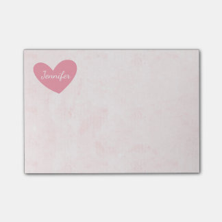 Pink Heart Personalize Distressed Watercolor Post-it Notes