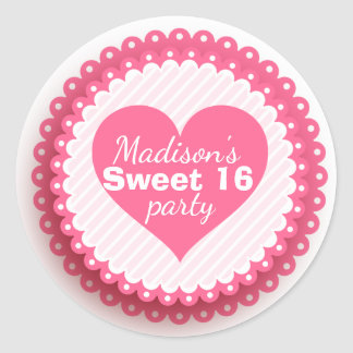 Pink Heart Personalized Sweet 16 Envelope Seal
