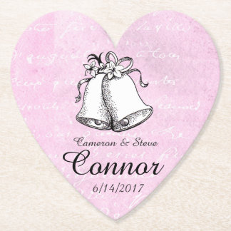 Pink Heart Personalized Wedding Bell Coasters