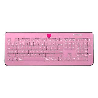 Pink Heart - Pink Wireless Keyboard