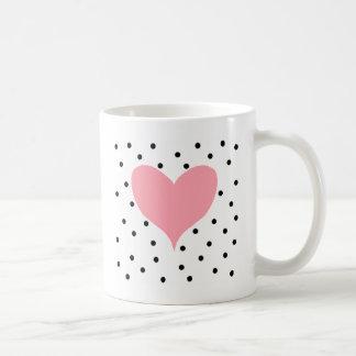 Pink Heart Polka Dots Basic White Mug