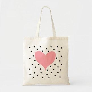 Pink Heart Polka Dots Tote Bag