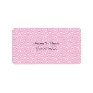 Pink heart polka dots wedding favors address label