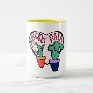 Pink Heart Prickly Pair Cactus Illustration Two-Tone Coffee Mug