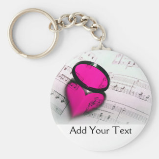 Pink Heart Reflection on Sheet Music Basic Round Button Key Ring