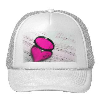 Pink Heart Reflection on Sheet Music Cap