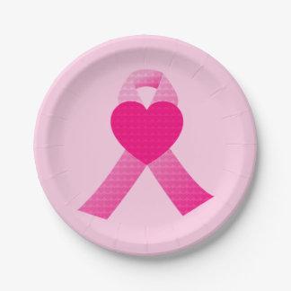 Pink Heart Ribbon Breast Cancer Awareness Custom Paper Plate