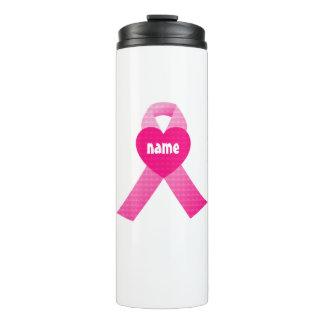 Pink Heart Ribbon Breast Cancer Awareness Custom Thermal Tumbler