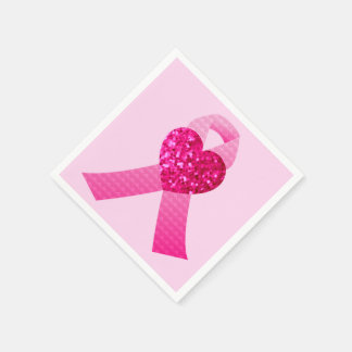 Pink Heart Ribbon Breast Cancer Awareness Disposable Serviette