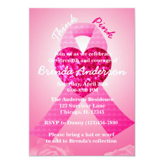 Pink Heart Ribbon Breast Cancer Awareness Party Card