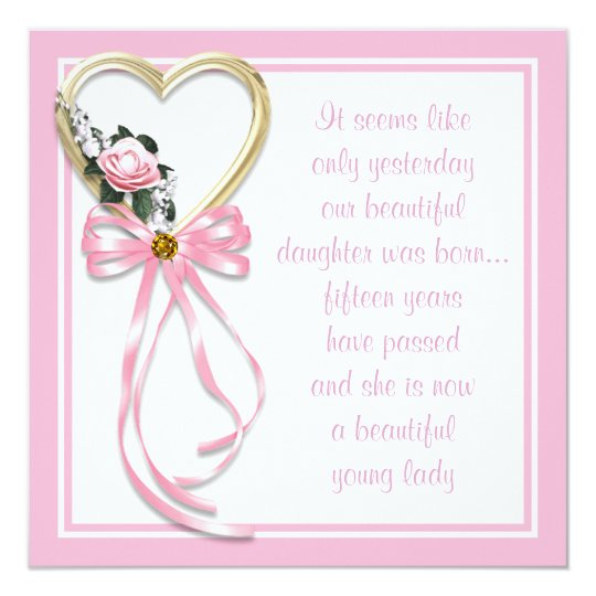 Pink Heart Roses Quinceanera Invitation