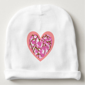 Pink Heart & Sakura Blossom Baby Cotton Beanie Baby Beanie