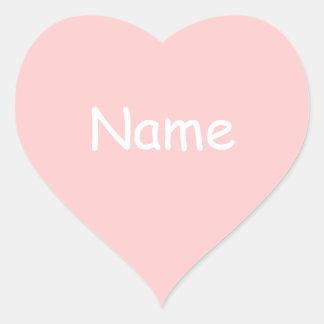 Pink Heart Shape Name Sticker