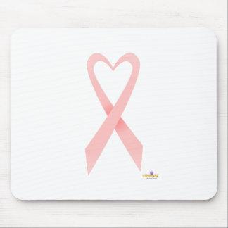 Pink Heart Shaped Awareness Ribbon Mouse Mat