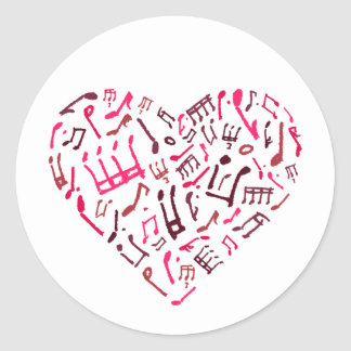 Pink Heart-Shaped Music Notes Sticker