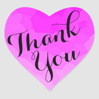 Pink Heart-Shaped Party Favor Thank You Stickers