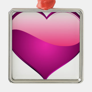 Pink Heart Silver-Colored Square Decoration
