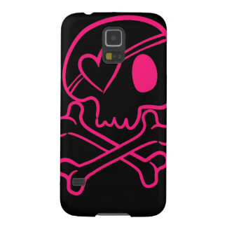 Pink Heart Skull and Crossbones Galaxy S5 Case