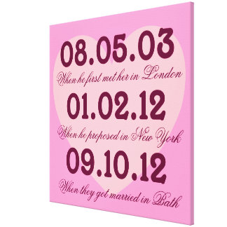 Pink Heart Special Dates Stretched Canvas