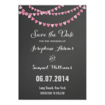 Pink Heart String Chalkboard Save The Date Invite