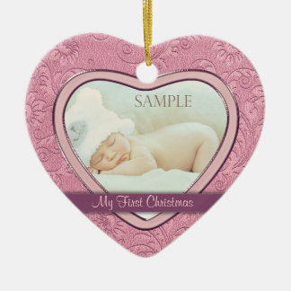 Pink Heart Swirl Baby First Christmas Ceramic Heart Decoration