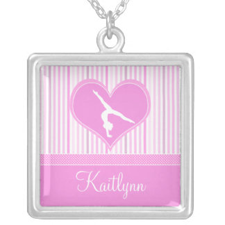 Pink Heart w/ White Stripes and Polka-Dots Gymnast Square Pendant Necklace