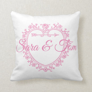 Pink Heart Wedding/Engagement Personnalised Cushion
