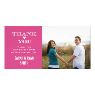 Pink Heart Wedding Photo Thank You Cards