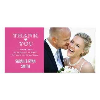 Pink Heart Wedding Photo Thank You Cards Photo Card