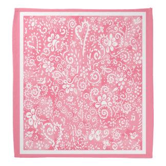 Pink Hearts and Flowers bandana