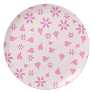 Pink Hearts and Flowers Pattern Party Plates