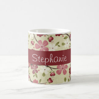 Pink Hearts and Flowers Personalized Coffee Mug