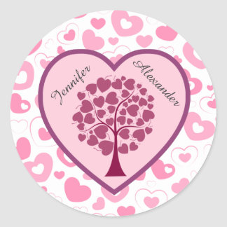 Pink Hearts and Heart Tree Wedding Classic Round Sticker