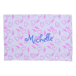 Pink Hearts and Parasols on Purple Blue Girls Name Pillowcase