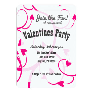 Pink hearts and swirl Invitation