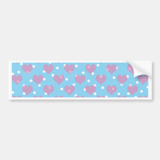 Pink hearts and white polka dots bumper sticker