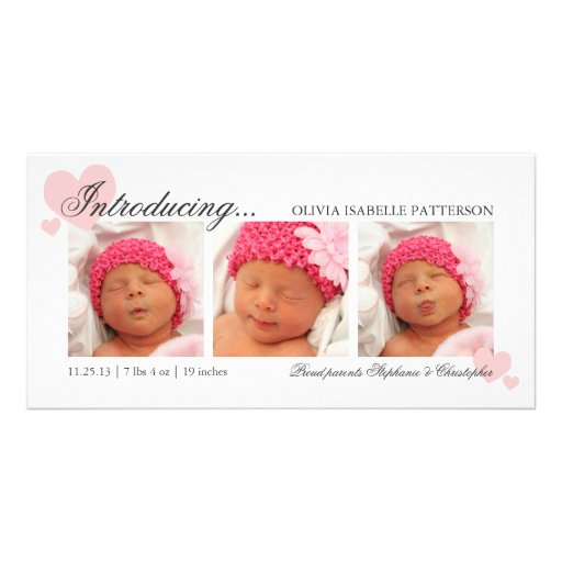 Pink Hearts Baby Girl Photo Birth Announcement Customized Photo Card