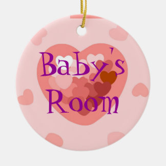 Pink hearts Baby Girl Round Ceramic Decoration
