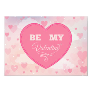 "Pink Hearts ""Be My Valentine"" Valentine's Day Card 13 Cm X 18 Cm Invitation Card"