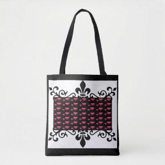 Pink Hearts Black Design Tote Bag