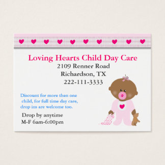 Pink Hearts Child Care Business Card